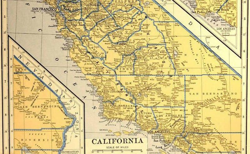An old map of California.
