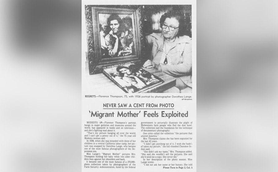 An old clipping of the Los Angeles Times talking about how the Migrant Mother feels exploited.