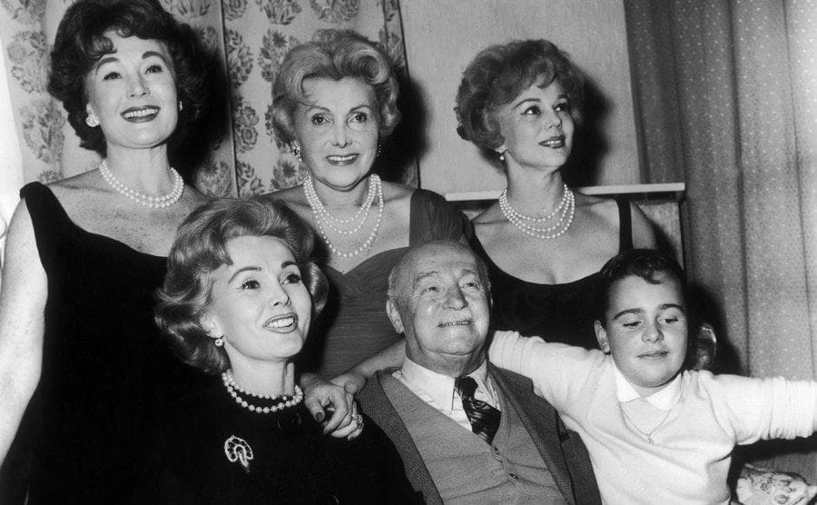 Zsa Zsa Gabor with her mother, father, sisters, and daughter in a family portrait