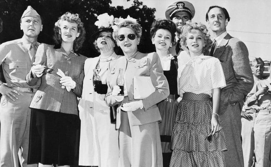 Zsa Zsa Gabor posing with other Hollywood celebrities circa 1940s