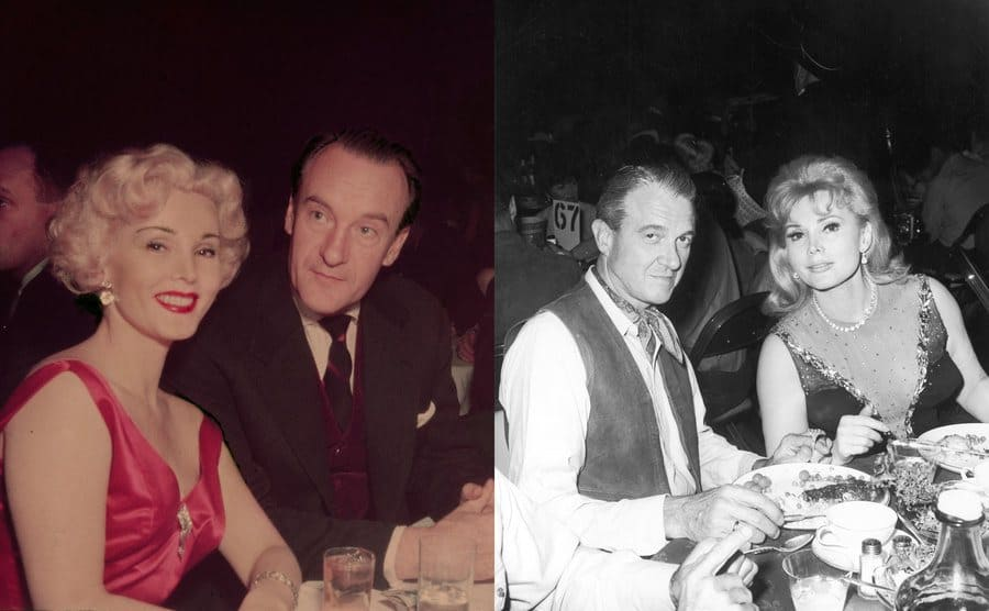Zsa Zsa Gabor and George Sanders sitting at a dinner table circa 1950s /