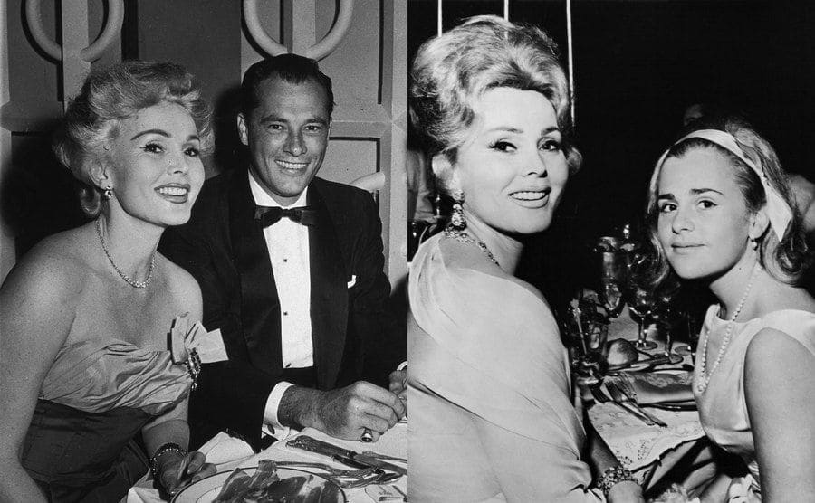 Zsa Zsa Gabor and Conrad Hilton Jr at a dinner event / Gabor with her daughter Francesca Hilton