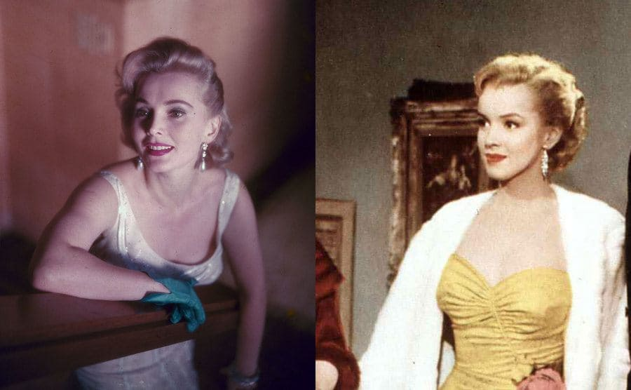 Zsa Zsa Gabor posing leaning on a table / Marilyn Monroe in a yellow dress and a white fuzzy coat in a scene from All About Eve