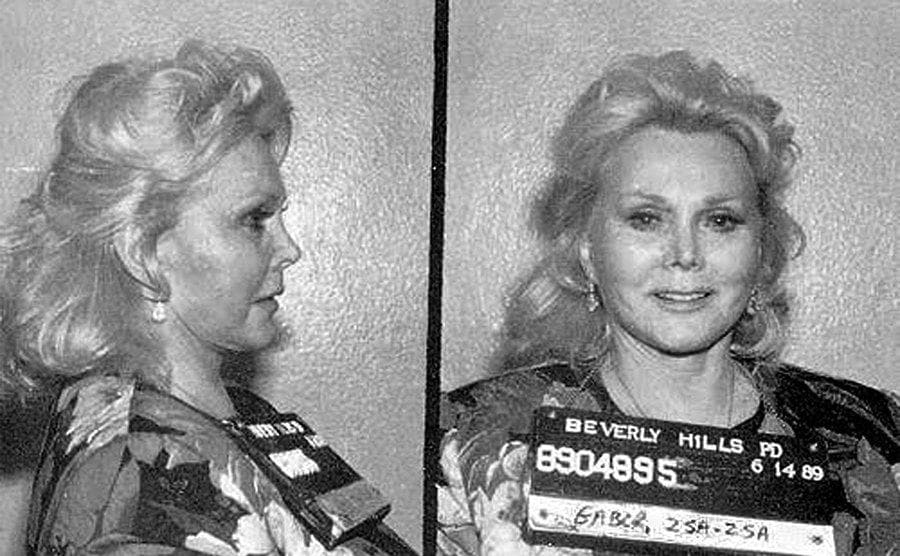 Zsa Zsa Gabor's mugshot from her arrest after slapping a police officer on June 14th, 1990