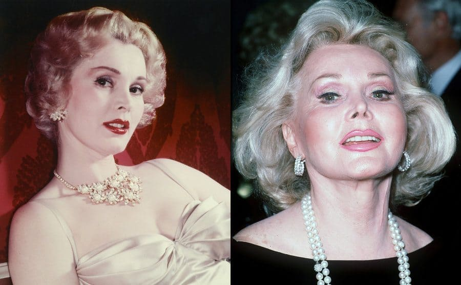 Zsa Zsa Gabor posing for a portrait circa 1955 / Zsa Zsa Gabor on the red carpet in a black dress and pearls in circa 1990