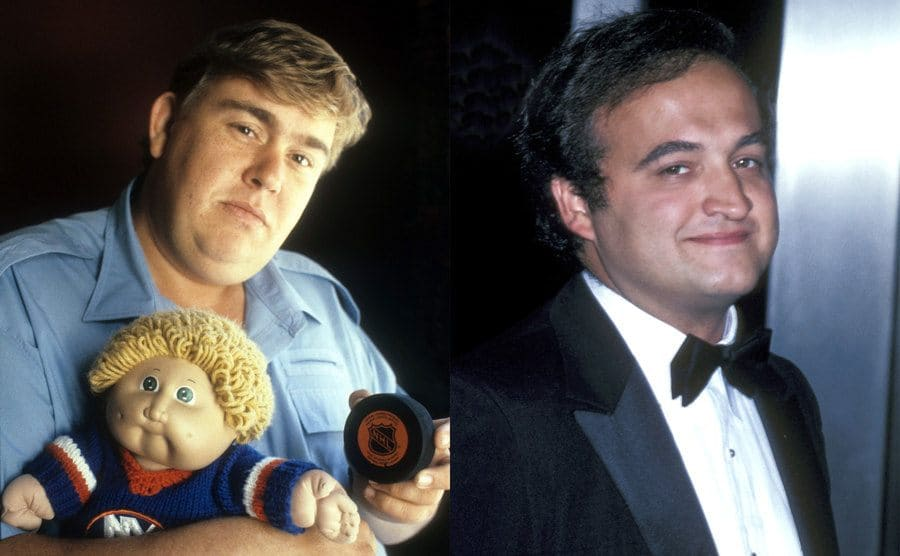John Candy holding a Cabbage Patch doll and a hockey puck during a photoshoot in 1985 / John Belushi in a tuxedo on the red carpet