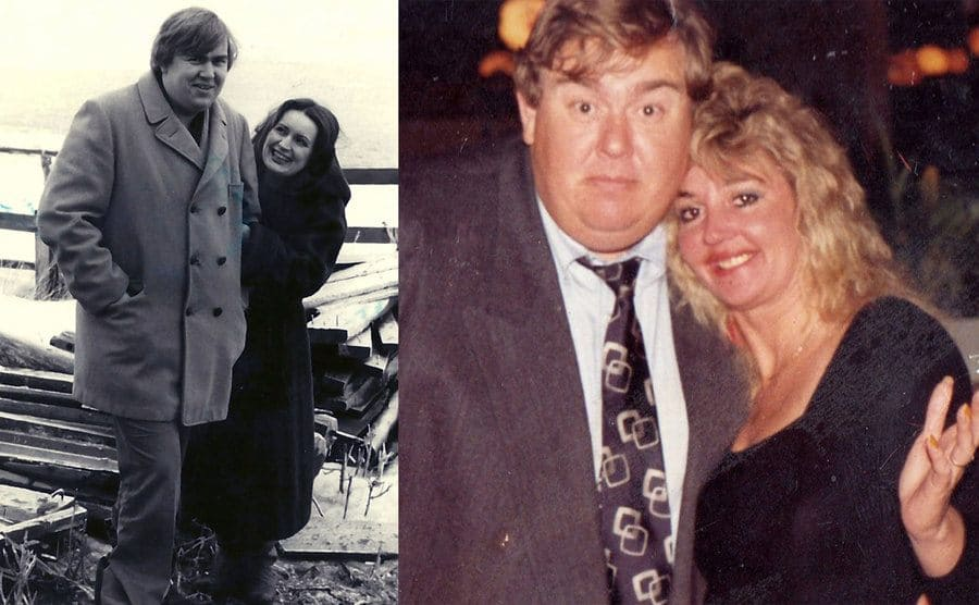 Rosemary and John Candy posing together before they got married / John Candy and Rosemary posing together for a photograph in a diner