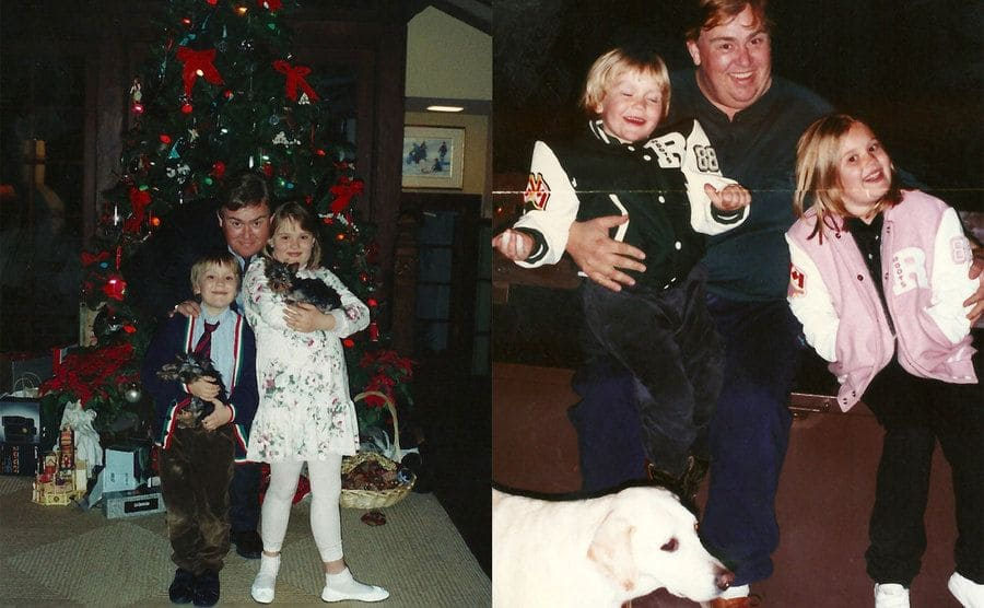 John Candy with his son and daughter in front of the Christmas tree / John Candy with Chris and Jennifer when they were kids sitting on his lap