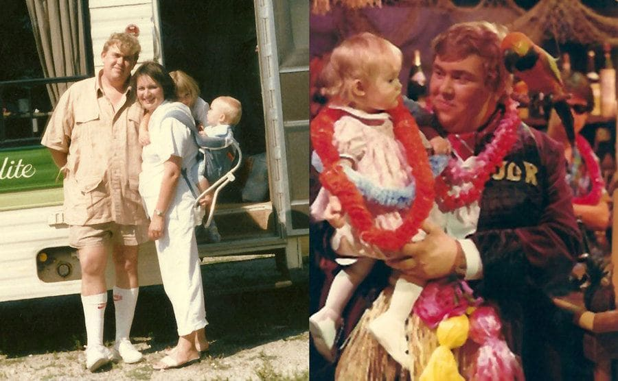 John and Rosemary standing outside of an RV with their children / John Candy holding Jennifer with a parakeet on his shoulder