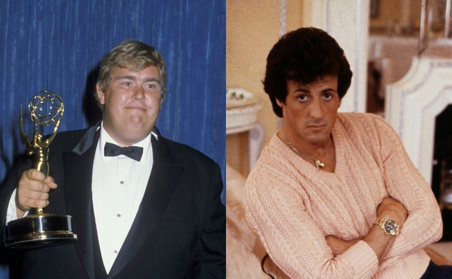 John Candy on the red carpet holding an Emmy Award / Sylvester Stallone posing on a chair in his home