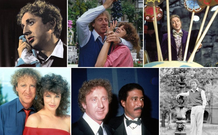 A portrait of Gene Wilder holding a blue rag up to his cheek / Gene Wilder feeding grapes to Gilda Radner / Gene Wilder and Kelly LeBrock in the film 'The Woman in Red' posing in front of an ocean view / Gene Wilder as Willy Wonka standing behind large lollypops / Gene Wilder and Richard Pryor on the red carpet together / Gene Wilder posing next to a lamp post outside