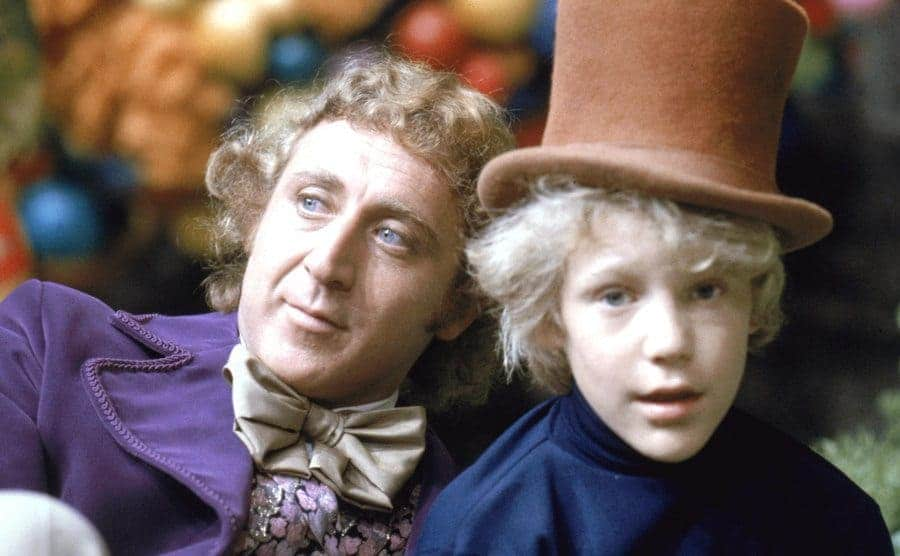 Gene Wilder and Peter Ostrum and Willy Wonka and Charlie Bucket on the set of Willy Wonka and the Chocolate Factory