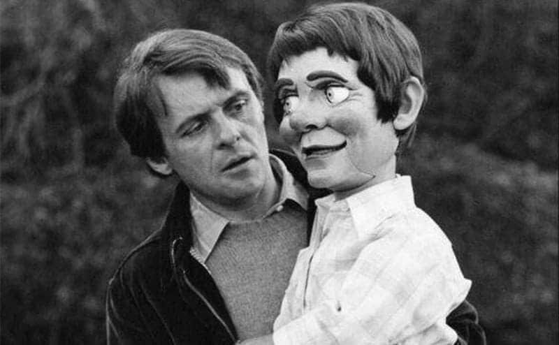 Anthony Hopkins holding a puppet in a scene from Magic