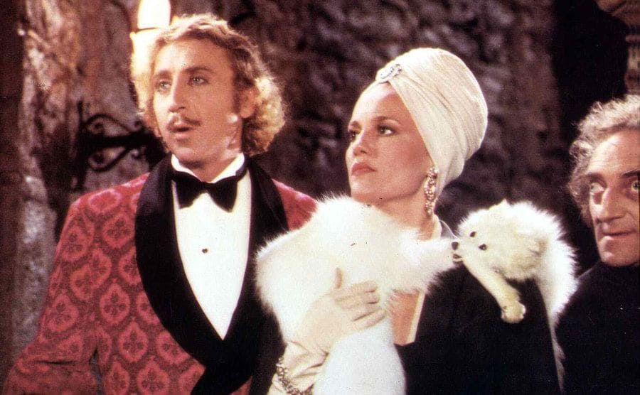 Gene Wilder and Madeline Kahn with a fur shawl in a scene from Young Frankenstein