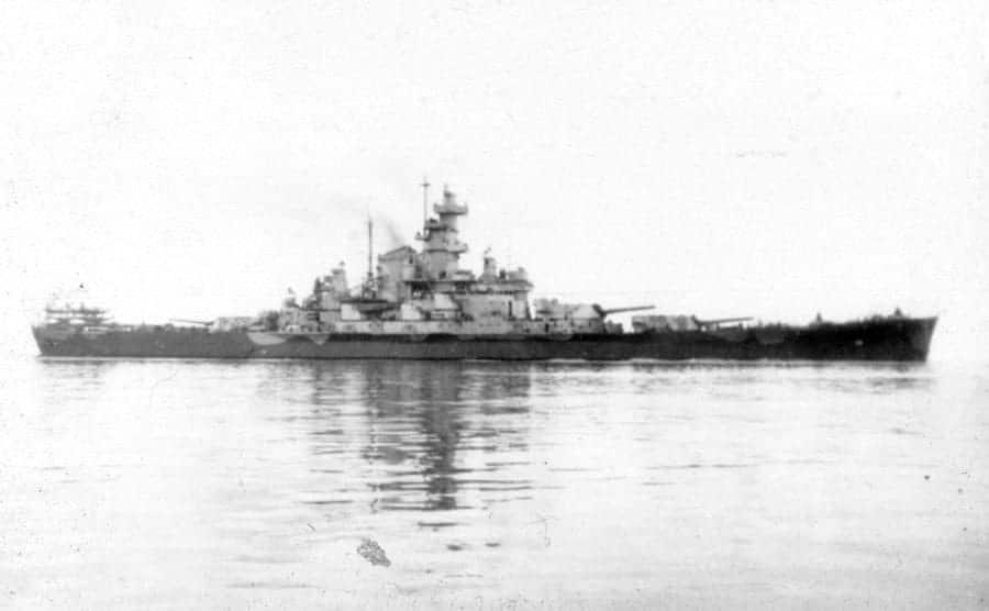 View of the USS South Dakota, an American battleship, at sea during World War II, the 1940s.
