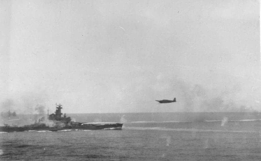 light, ALTA Japanese bomber attacks the USS South Dakota destroyer during the Battle of Santa Cruz.