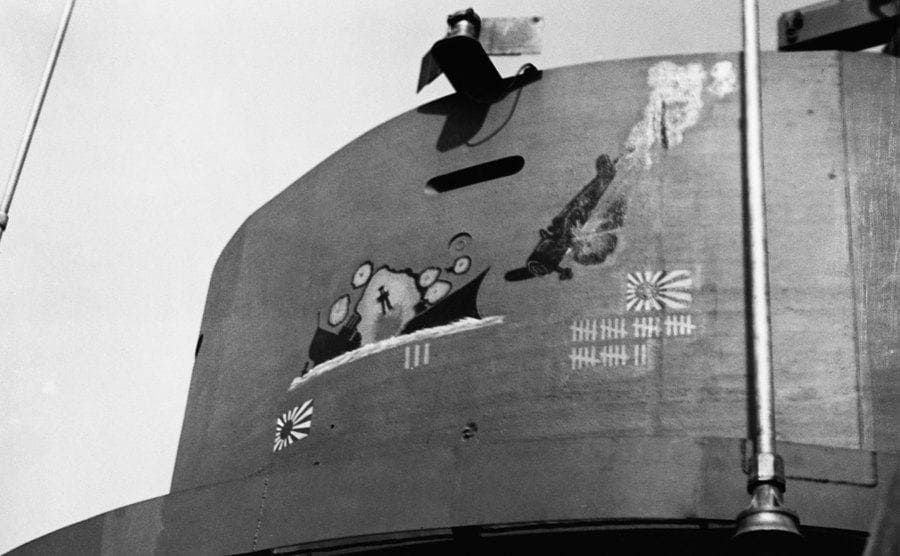 The USS South Dakota's scoreboard; 32 planes shot down in the Battle of Santa Cruz and 3 Japanese cruisers sinking in the Battle of Guadalcanal.
