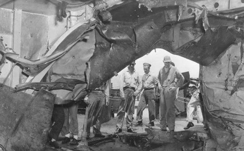 Damage that occurred on the USS South Dakota.