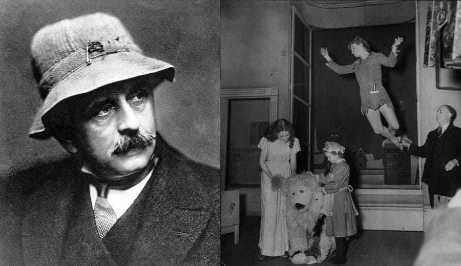 J.M. Barrie photographed circa 1880 in a hat. / Lorimer as Wendy and Joan Greenwood as Peter Pan in the Pantomime Peter Pan in 1951.