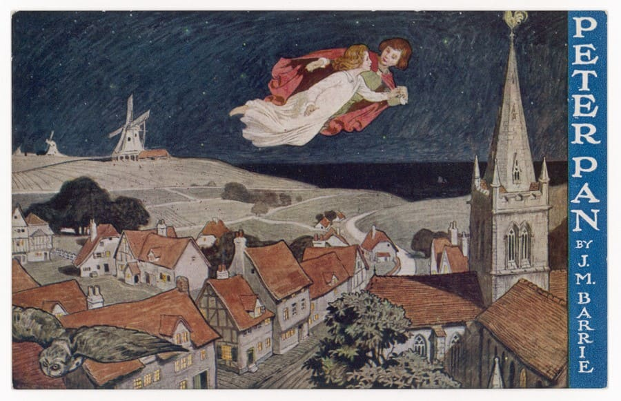 An illustration of Wendy and Peter flying over the city from the book by J.M. Barrie.