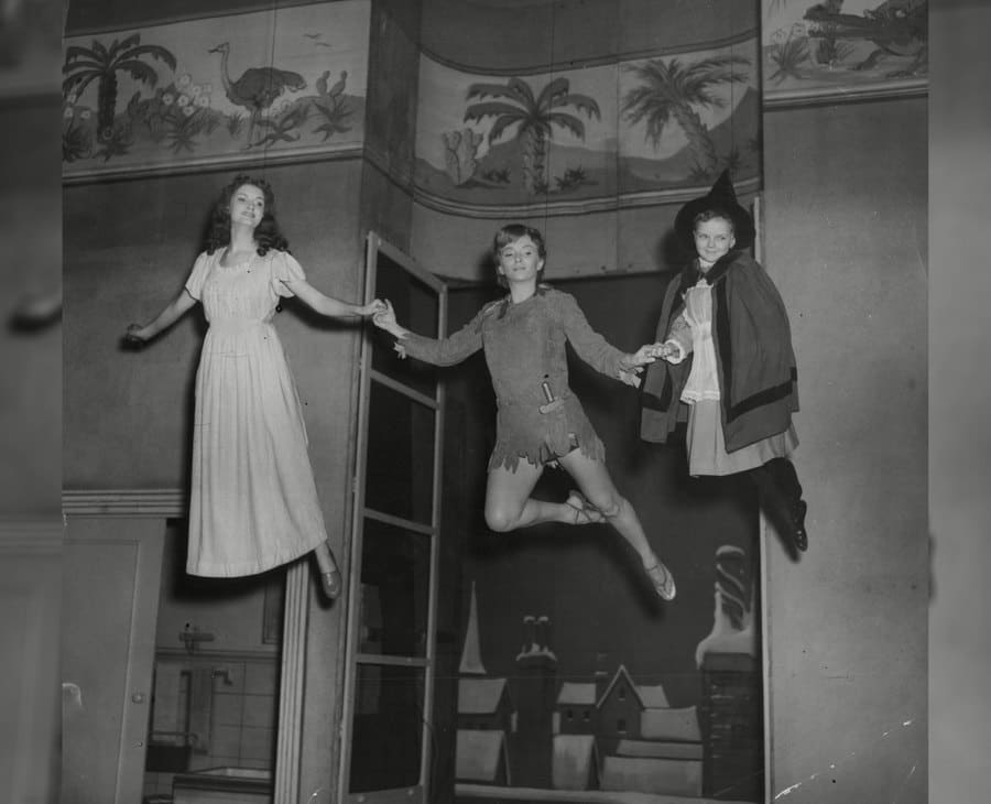 Peter Pan, Wendy, and another child from Peter Pan in 1951.