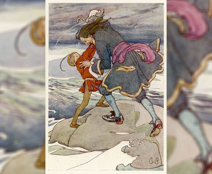 Peter Pan and Captain Hook fight in Peter Pan, first published in 1904.