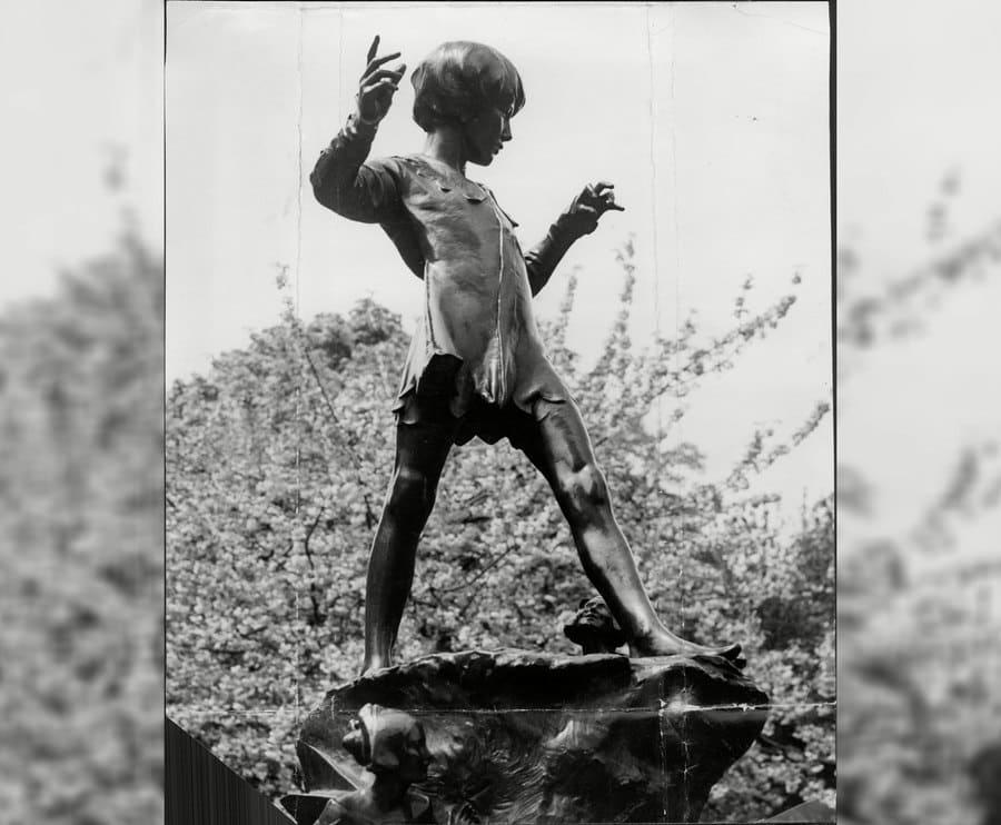 The statue of Peter Pan in Kensington Gardens, 1952.