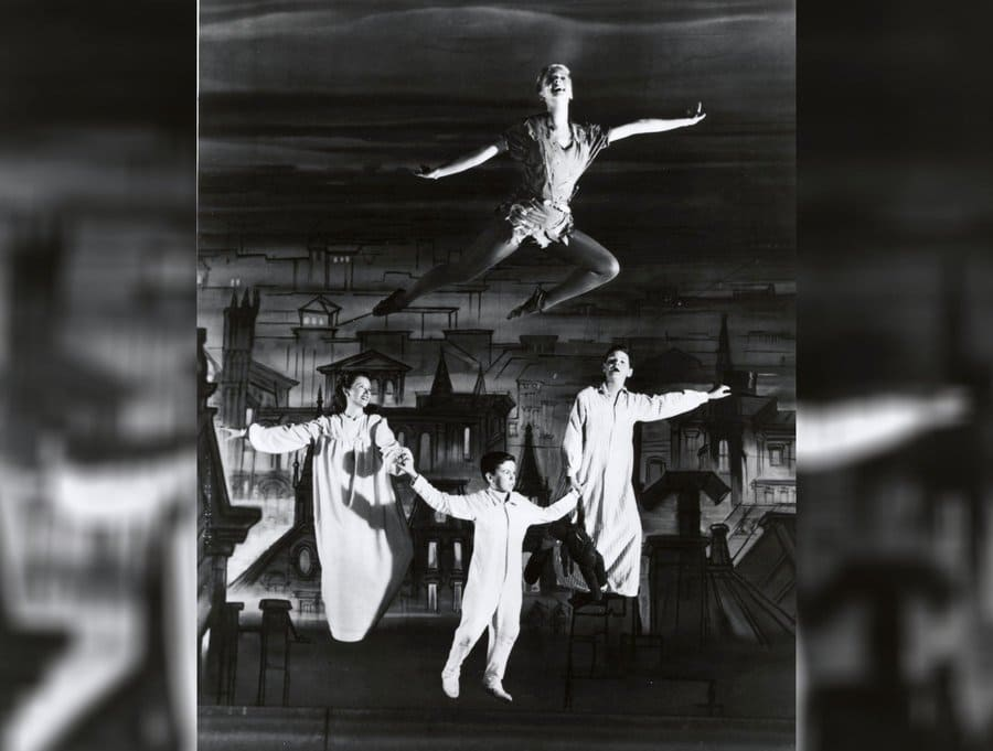 Mary Martin as Peter Pan in 1955, flying through the air.