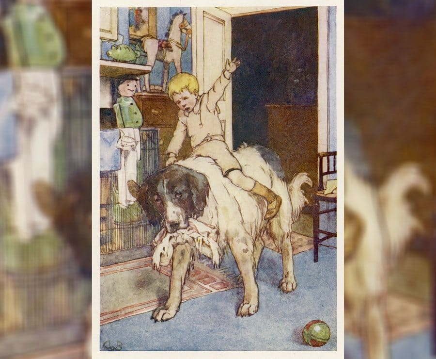 An illustration of Michael riding on the back of the dog Nana from Peter Pan, 1904.