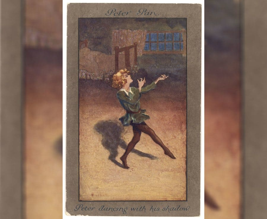 An illustration of Peter Pan dancing with his own shadow.