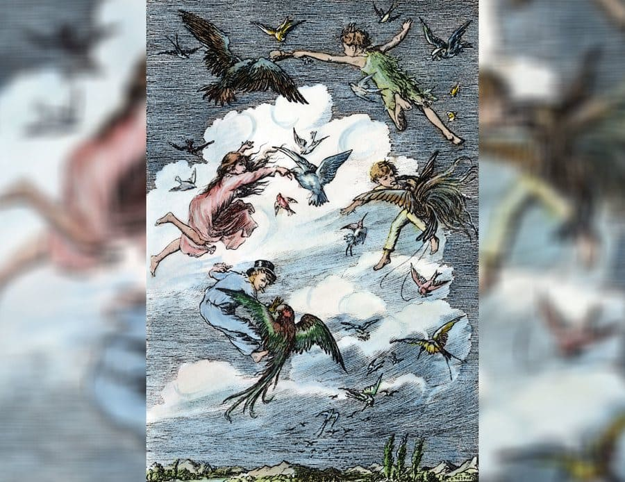 An illustration from Peter Pan, 1911, with Peter teaching the children how to fly.