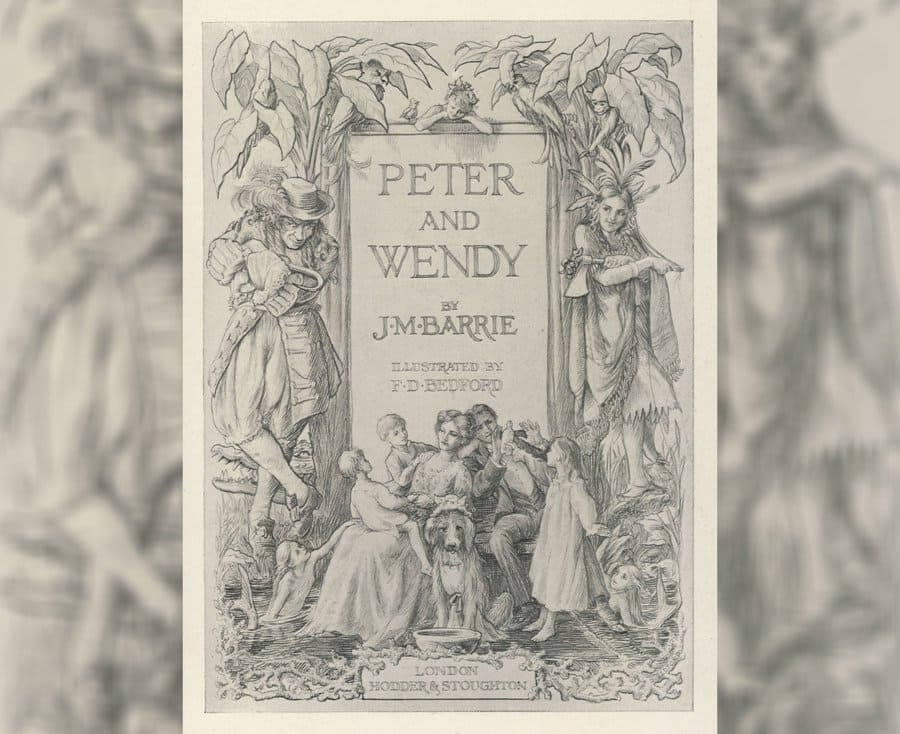 The cover illustration and title to J.M. Barrie's Peter and Wendy, 1911.