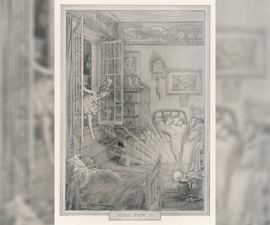 An illustration of Peter flying in the window from Peter and Wendy.