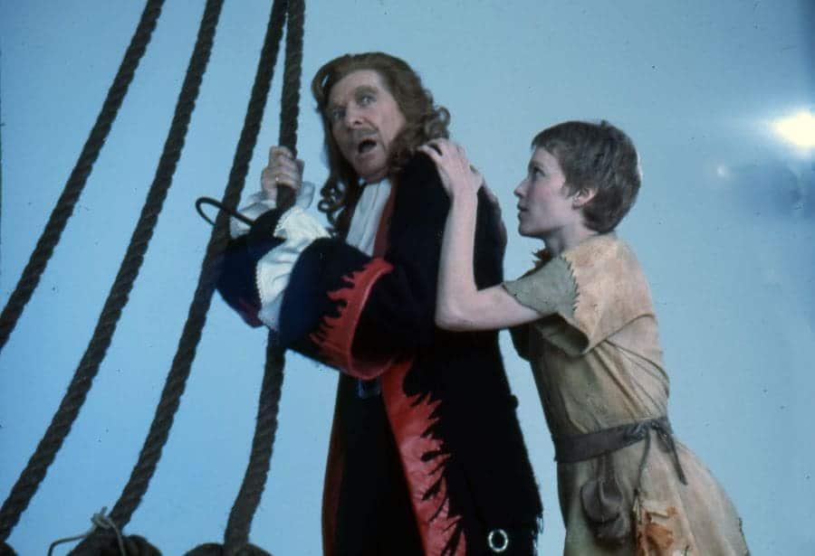Danny Kaye as Captain Hook and Mia Farrow as Peter Pan in Peter Pan, 1976.
