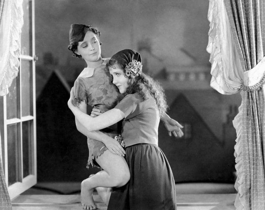 Betty Bronson and Mary Biran on-set of the Silent Film from 1924.