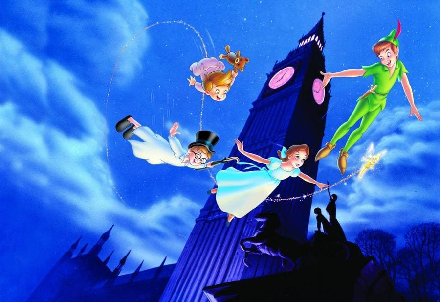 The Disney animated Peter Pan with Peter Pan, Wendy, two children, and Tinkerbell flying around using magic (sparkles).