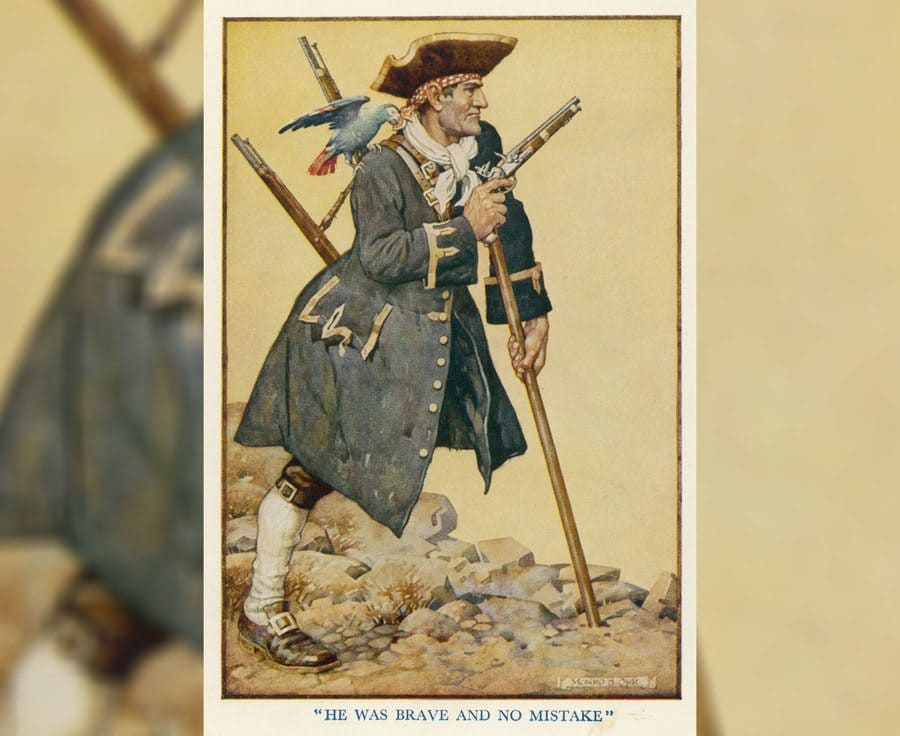 An illustration of Long John Silver with his parrot on his shoulder.