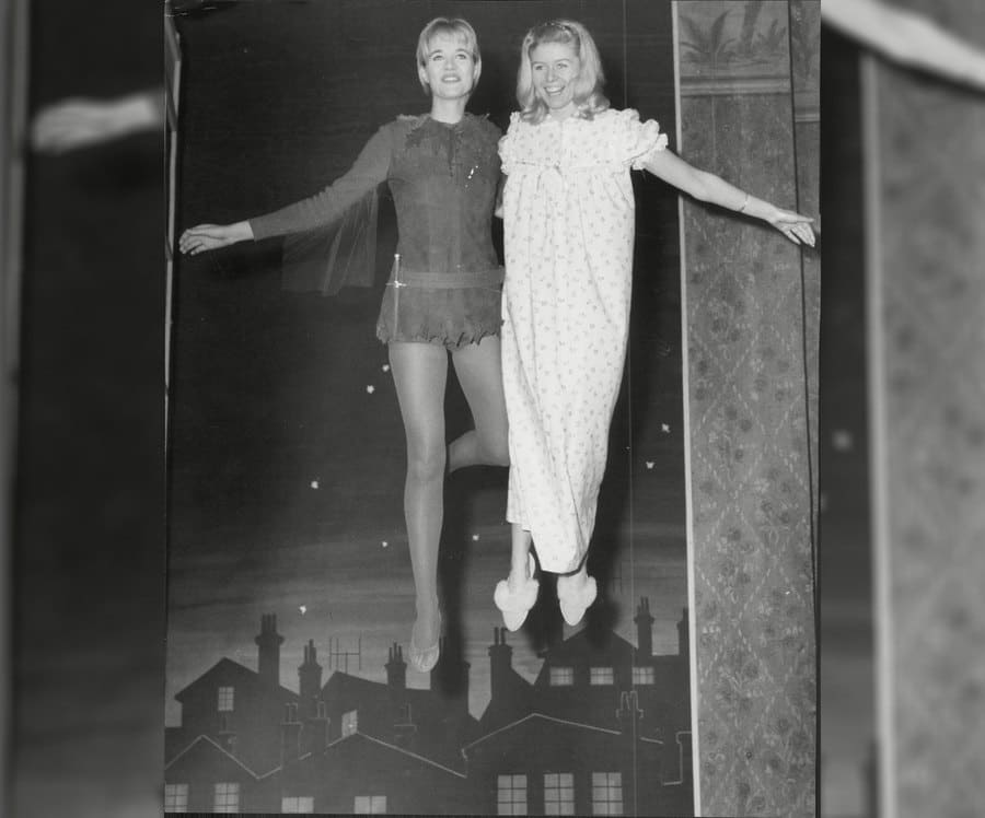 Julia Lockwood as Peter Pan with April Wilding as Wendy acting in the late 1950s.