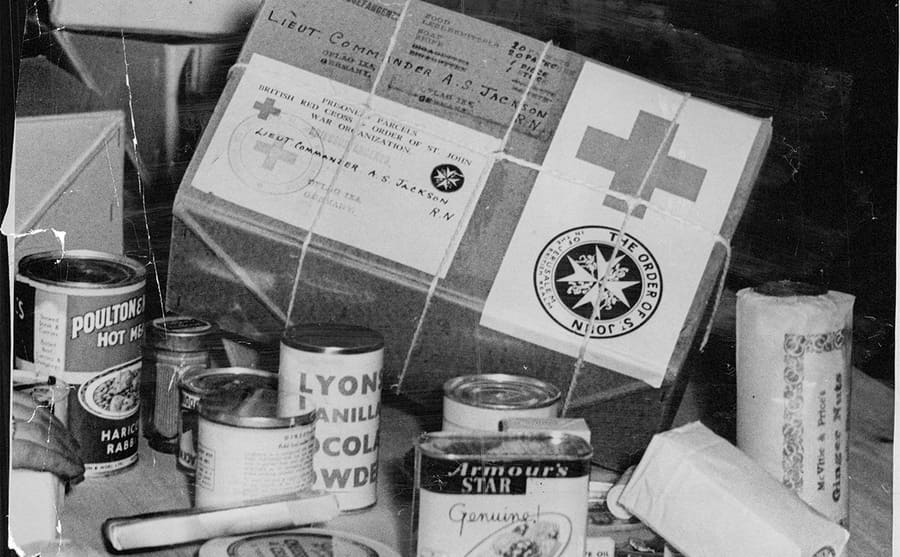 A red cross parcel containing food and clothing for prisoners of war
