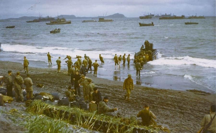 US troops landing on the Aleutian Islands