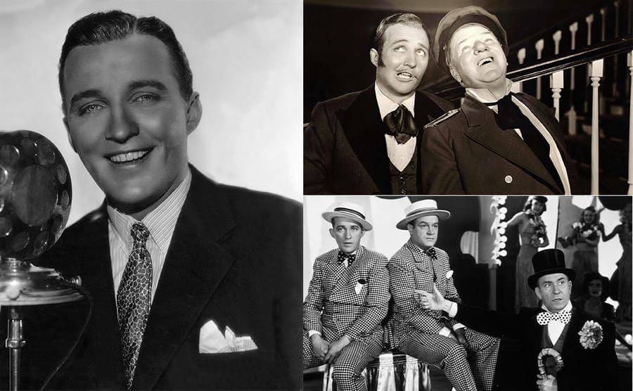 A portrait of Bing Crosby in front of an old microphone / Bing Crosby and W.C. Fields singing together / Bing Crosby, Bob Hope, and William Demarest
