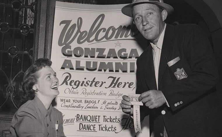 Bing Crosby at a Gonzaga Alumni dance holding his ticket