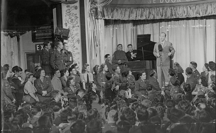 Bing Crosby performing for the troops circa the 1940s