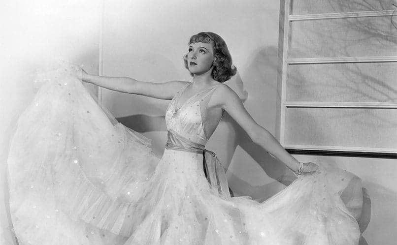 Dixie Lee on the set of the film Redheads on Parade 1935