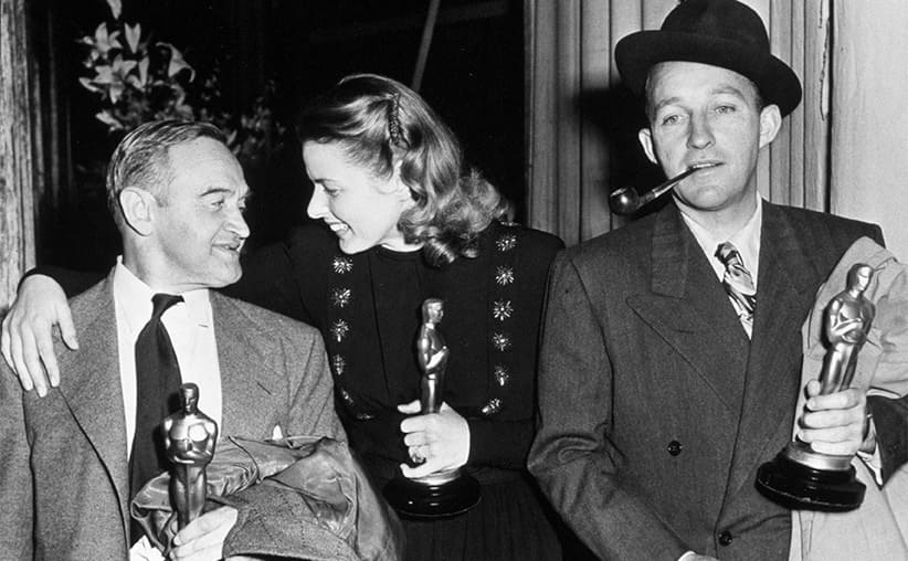 Barry Fitzgerald, Ingrid Bergman, and Bing Crosby at the Oscars