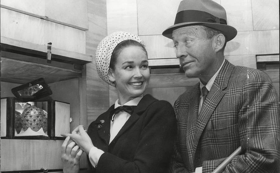 Kathryn Grant and Bing Crosby at the jewelers in 1965
