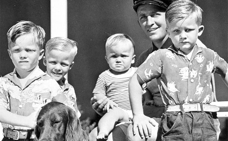 Bing Crosby, his four sons, and dog
