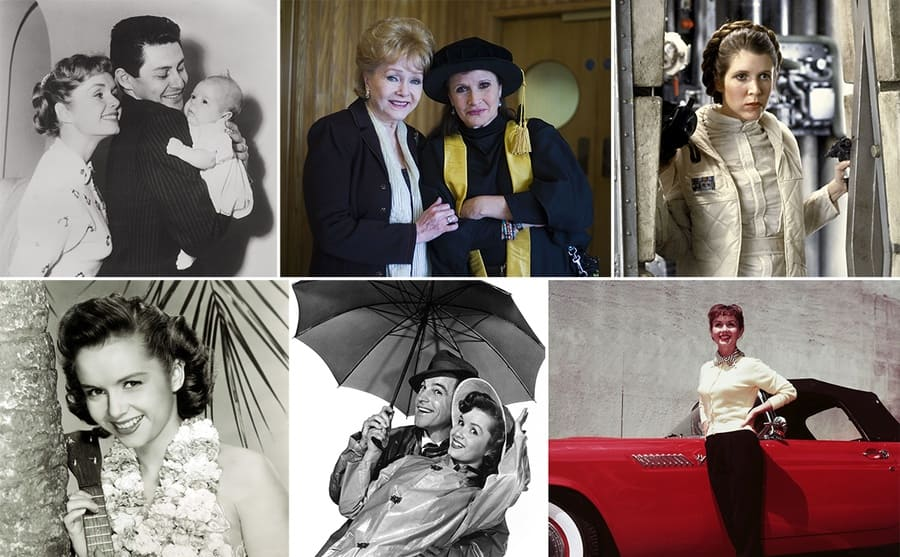 Debbie Reynolds, Eddie, and Carrie Fisher / Debbie Reynolds and Carrie Fisher wearing a graduation gown / Carrie Fisher in Star Wars Episode V / Debbie Fisher holding a ukulele / Gene Kelly and Debbie Fisher posing under an Umbrella from Singing in the Rain / Debbie Reynolds posing in front of a red thunderbird
