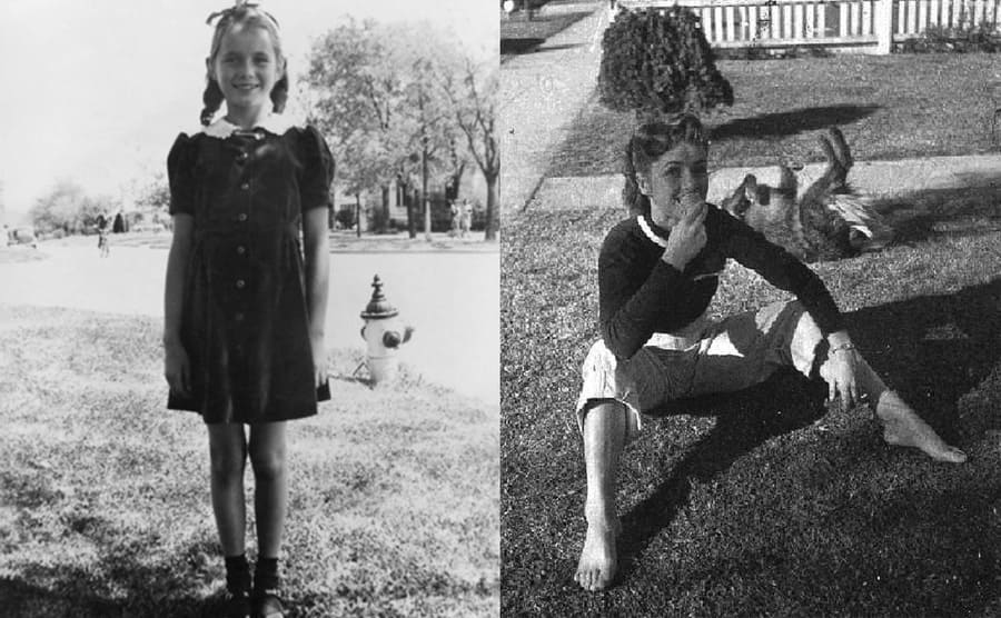 Debbie Reynolds at 8 years old posing in the park / Debbie Reynolds eating ice cream in her front yard with a dog behind her