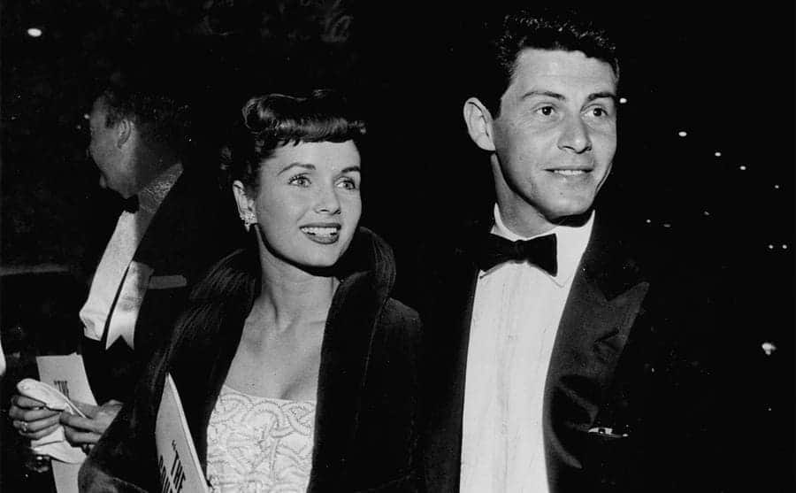 Debbie Reynolds and Eddie Fisher at an event in 1954
